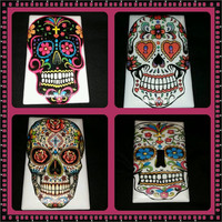 Sugar Skull light switch cover handmade day of the dead