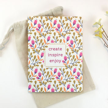 Floral notebook Writing journal Affirmation Art journal Bullet journal diary Bridesmaids Gift for artist Pink Bujo Create quote Gift for her