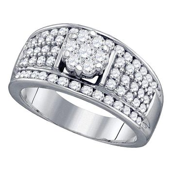 10kt White Gold Women's Round Diamond Flower Cluster Fashion Ring 1-1/6 Cttw - FREE Shipping (USA/CAN)