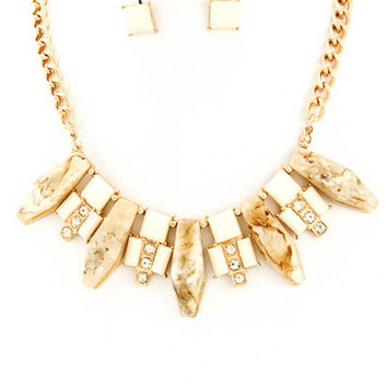 Raw Beauty Stone Necklace - Ivory