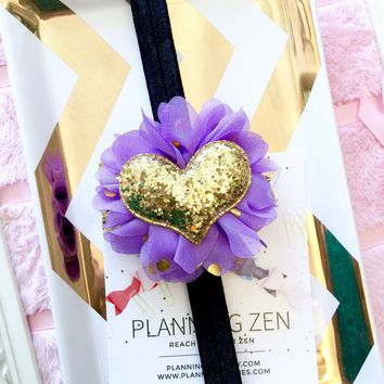 Black Planner Band with Glitter Gold Heart on Purple & Gold Flower