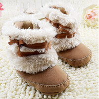 Infant Girl Chic Bow Snow Boots Crib Shoes Toddler Winter Warm Fleece Boots = 1945739524