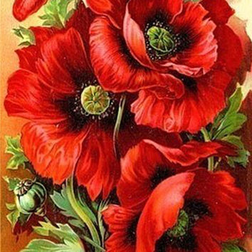 New Arrival Embroidery Cross Russia Flowers Poppy 30*40 Diy Diamond Painting Full Mosaic Picture Pattern Cross Stitch Rhinestone