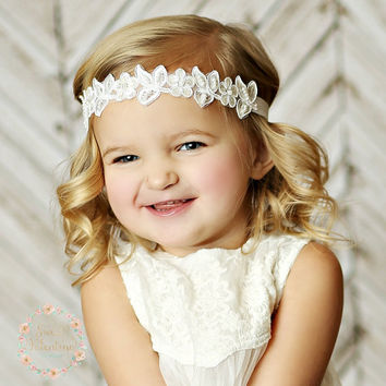 Baby Headbands,newborn headband,boho lace headband,Baby headband, White headband, Christening Headband, Baptism headband, Flower girl Bows