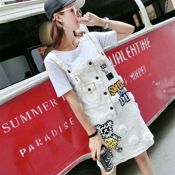 MUMUZI 2017 Summer and Autumn Denim Strap Women white pearl patches Ripped Jeans Dress Cute Cartoon bear and letter female Dress