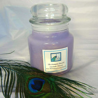 Lavender Flowers Scented Soy Candle 20oz Apothecary Jar Purple Relaxing Spa Scent