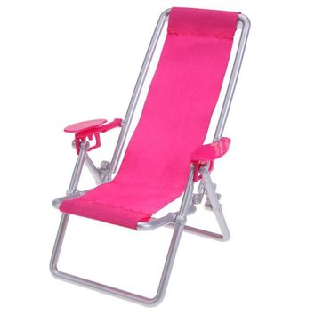 Foldable Deckchair Lounge Beach Chair Dollhouse Furniture Foldable Deckchair For Lovely Miniature For Barbie Dolls House Props