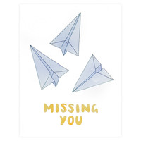 Paper Planes Missing You Greeting Card