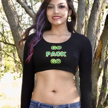 Go Pack Go Black Long Sleeve Crop Top