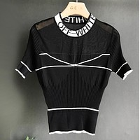 Off White Summer New Fashion Letter Print Leisure Women Top T-Shirt Black
