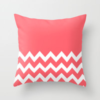 Chevron Colorblock Coral Throw Pillow by Beautiful Homes