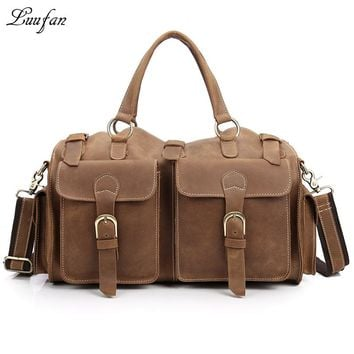 Men's Vintage Crazy horse Leather travel duffel Genuine leather travel bag Durable Real leather weekend bag