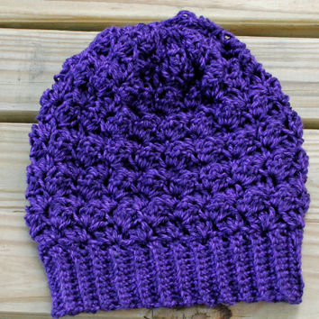 Crochet Slouchy Hat, Crochet Slouchy Beanie, Crochet Beanie in Deep Purple, The Bailey Slouchy Beanie, Soft Acrylic