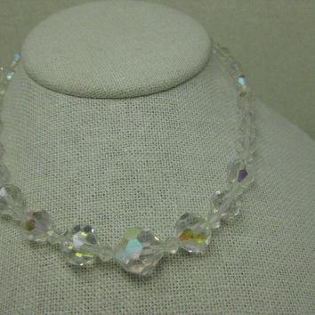 "Vintage Cut Crystal Graduated Beaded Choker/Necklace, Aurora Borealis, 16"" hook clasp, 1950's"