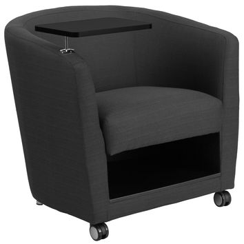 Flash Furniture Charcoal Gray Fabric Guest Chair with Tablet Arm, Front Wheel Casters and Under Seat Storage [BT-8220-GY-CS-GG]