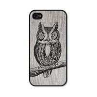 Owl iPhone 4 Case - Plastic iPhone 4 Cover - Wood iPhone 4 Case - Brown Grey Black Woodland iPhone 4 Skin