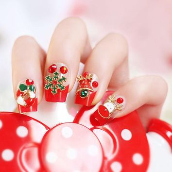 24pcs/set Merry Christmas Cute Christmas Gifts snowman Nail Acrylic full cover False Nail Fake Nails art Tips Stickers with GLUE