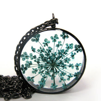 Pretty Turqoise Queen Anne's Lace Pendant - Real pressed flower encased in resin with open back copper pipe bezel, Pressed Flower Jewelry
