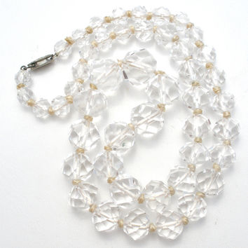 Clear Crystal Bead Necklace Art Deco Sterling Clasp