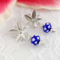 Blue & White Polka Dot Lampwork Earrings, Dangle Earrings, Starburst Earrings