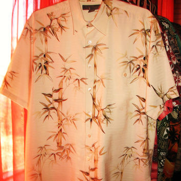 Amazing Vintage Hawaiian Shirt TORI Richard Bamboo 100% Silk Size XL Made in USA