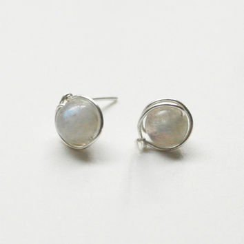 925 Silver earrings Natural Moonstone Handmade Exquisite vintage minimalist  Silver Wire Wrapped Stud earrings cocktail Jewelry