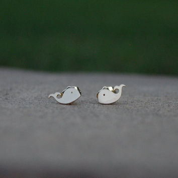 Animals For Christ, Tiny Whale Earrings, Whale Earrings, Animal Earrings, Christian Jewelry, Gold Earrings, Whale, Animal Jewelry Fish