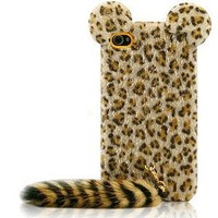 Lewire Cute Fluffy Ears and Tail Leopard Phone Case For iPhone 4/4s Color Pink