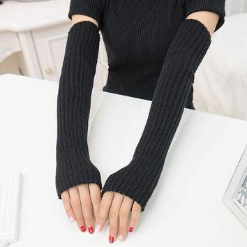 women's autumn and winter yarn knitted gloves lady's thicken warm fingerless gloves girls long arm sleeves 50cm R106