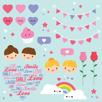Valentines Clipart commercial use, cute Love graphics, printable vector clip art instant download. Digital Banners, Hearts. Characters