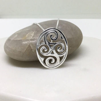 Triskele Necklace Sterling Silver Triskele Pendant Triskelion  Large Celtic Medallion Double Celtic Knot Necklace Spiral Pendant