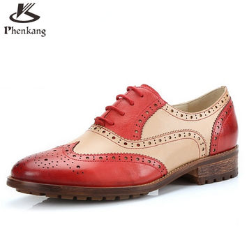 Genuine leather flat shoes women size 8 handmade red black blue vintage round Toe British oxford shoes for women creepers
