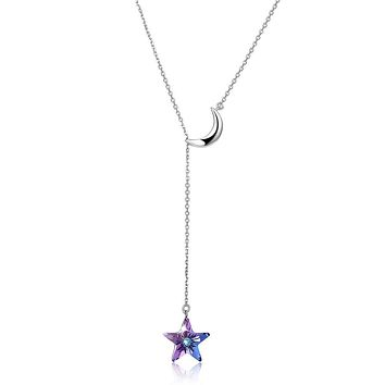 Womens Necklace Gift Ideas Bermuda Blue Swarovski Crystals Sterling Silver Pave Moon and Star Drop Necklace