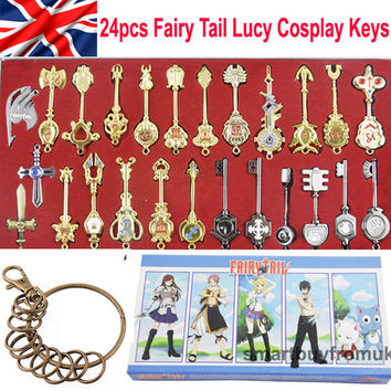 24pcs of Set Cosplay Fairy Tail Lucy Celestial Spirit Gate Keys Necklace Pendant