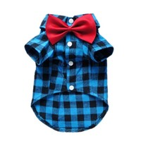 Soft Casual Dog Plaid Shirt Gentle Dog Western Shirt Dog Clothes Dog Shirt + Dog Wedding Tie Free Shipping,Blue,M