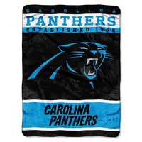 Carolina Panthers NFL Royal Plush Raschel (12th Man Series) (60in x 80in)