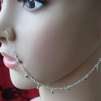 Silver Nose chain dangle with turquoise beads