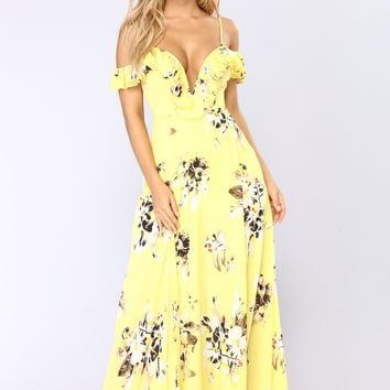Newport Beach Floral Dress - Yellow