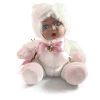 Vintage Porcelain Baby Doll, Show Stoppers Babes in the Wild Nibbles Doll, Baby in Bunny Pajamas