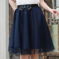 Tulle Skirt 2016 Summer Style Elastic Waist Bow Skirts Womens Pleated Voile Tutu Faldas Saias Femininas Plus Size 6 Colors