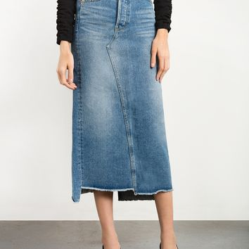 Denim Frayed Maxi Skirt