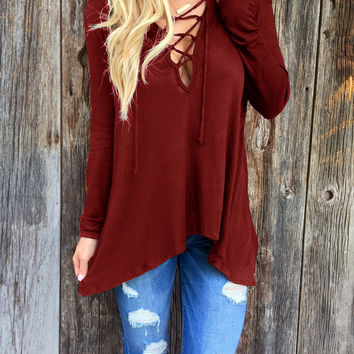 Wine Red Strappy V-Neck Long Sleeve Asymmetrical Casual Top
