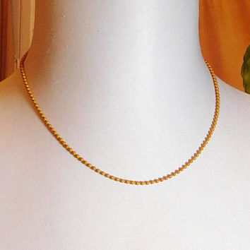 "Orange Ball Chain Choker Necklace, 18 1/2"" Never Worn, Vintage 70s 80s, Costume Jewelry"