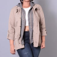Plus Size Hooded Utility Jacket- Khaki