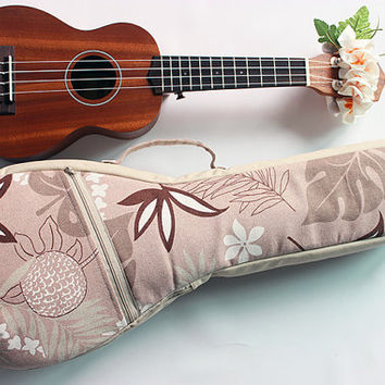 Soprano long neck ukulele case & ribbon lei / beige pink / gig bag / soft case / hawaiian fabric / tropical / surfboard / instrument case