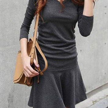 Gray V-Neck Long Sleeve Skater Dress