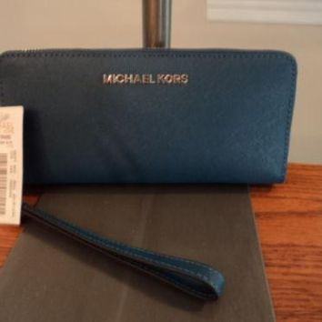 Michael Kors Jet Set Travel Continental Leather Zip Wallet Wristlet Steel Blue