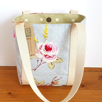 Floral Fabric Handbag, Vintage Rose Tote Bag, Canvas Bag With Pocket, Gift For Her, Book Bags, Small Blue Tote, Sage Green Spots, Zip Pocket