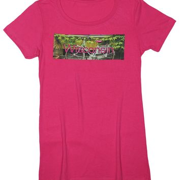 Cycle Sister: Lakes and Forests Women's Bike T-shirt, Raspberry