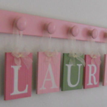 Pink And Green Personalized Baby Girl Nursery Name Wall Sign, Cu